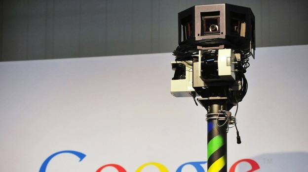The camera mounted on a Google Street View car used to photograph whole streets obscures part of the U.S. Internet giant's logo. (AFP/Getty Images)