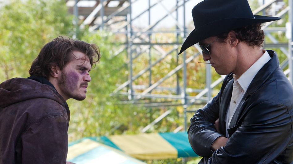 A Dallas hard-luck case  (Emile Hirsch, left) hires a corrupt cop (Matthew McConaughey) to kill his estranged mother when he hears about her rich insurance policy. Needless to say, the plot of Killer Joe doesn't quite work out as planned. (LD Entertainment)
