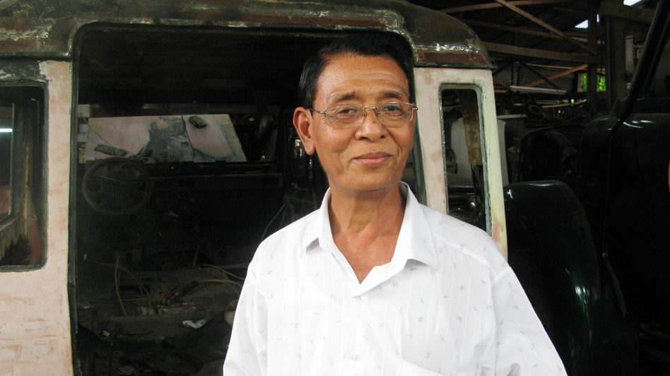 U Ohn Myint has serviced many decades-old jalopies and kept them roadworthy when ordinary Burmese could not import private cars. (NPR)