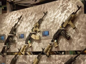 Tapco semi-automatic weapons are displayed at the National Rifle Association (NRA) Annual Meetings and Exhibits on April 14 in St. Louis, Mo.