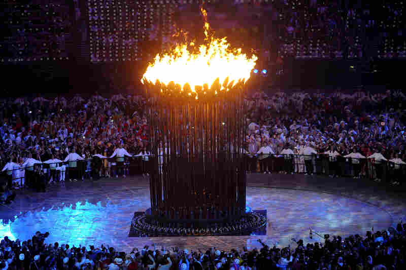 The Olympic Cauldron is lit during the opening ceremony of the London 2012 Olympic Games.