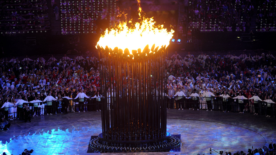 The Olympic Cauldron is lit during the opening ceremony of the London 2012 Olympic Games. (Getty Images)