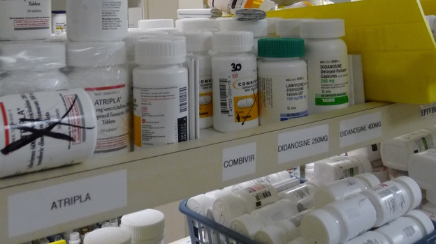 The pharmacy at Atlanta's Ponce de Leon Center stocks medications for 5,200 HIV/AIDS patients. Workers there aren't sure how much an increase in federal aid will help cut Georgia's waiting list for a HIV drug-assistance program. (WABE, Atlanta)