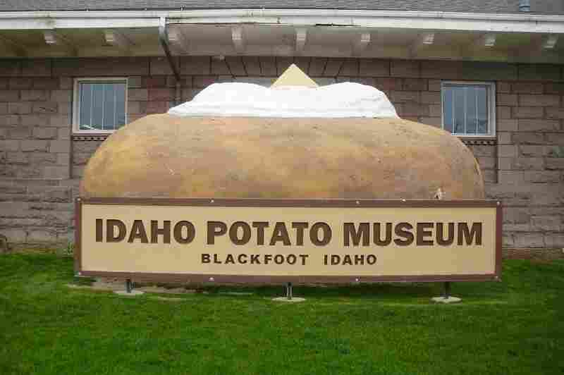 A decked-out giant baked potato carries the sign for the Idaho Potato Museum in Blackfoot, Idaho.