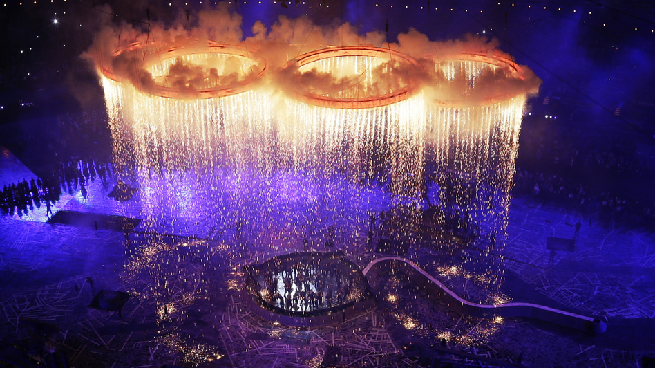 The Olympic Rings are assembled in the 80,000-seat Olympic Stadium. (Getty Images)