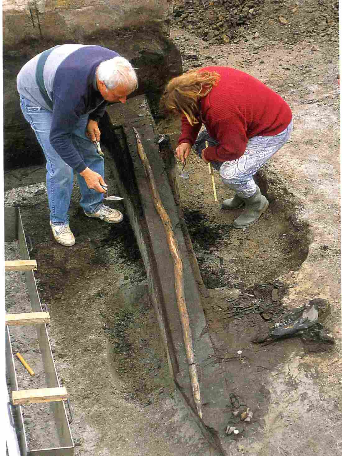 A wooden spear believed to be some 400,000 years old is unearthed in a dig site in Germany in the mid-1990s.