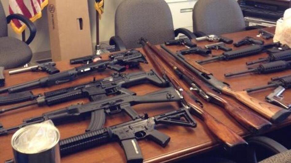 A photo released by Prince George's County (Md.) police of the weapons seized. (Prince George's Police Department)