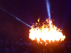 The Olympic Flame is lit during the opening ceremony of the London 2012 Olympic Games at the Olympic Stadium.
