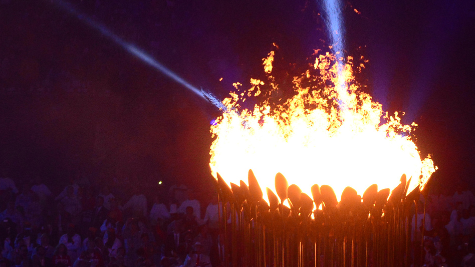 The Olympic Flame is lit during the opening ceremony of the London 2012 Olympic Games at the Olympic Stadium. (AFP/Getty Images)