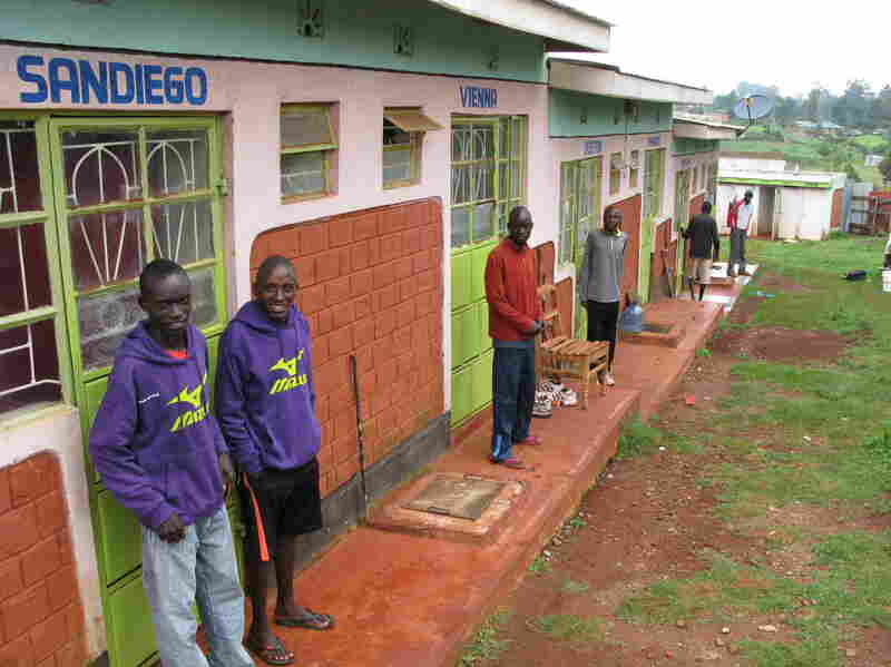 The doors of the Run-Fast training camp dormitories bear the names of famous marathons.
