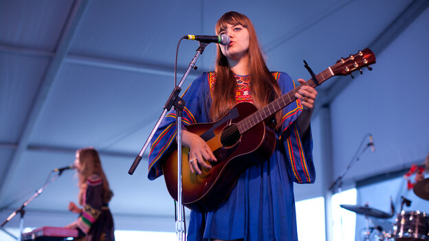 First Aid Kit plays the Harbor Stage at the Newport Folk Festival.