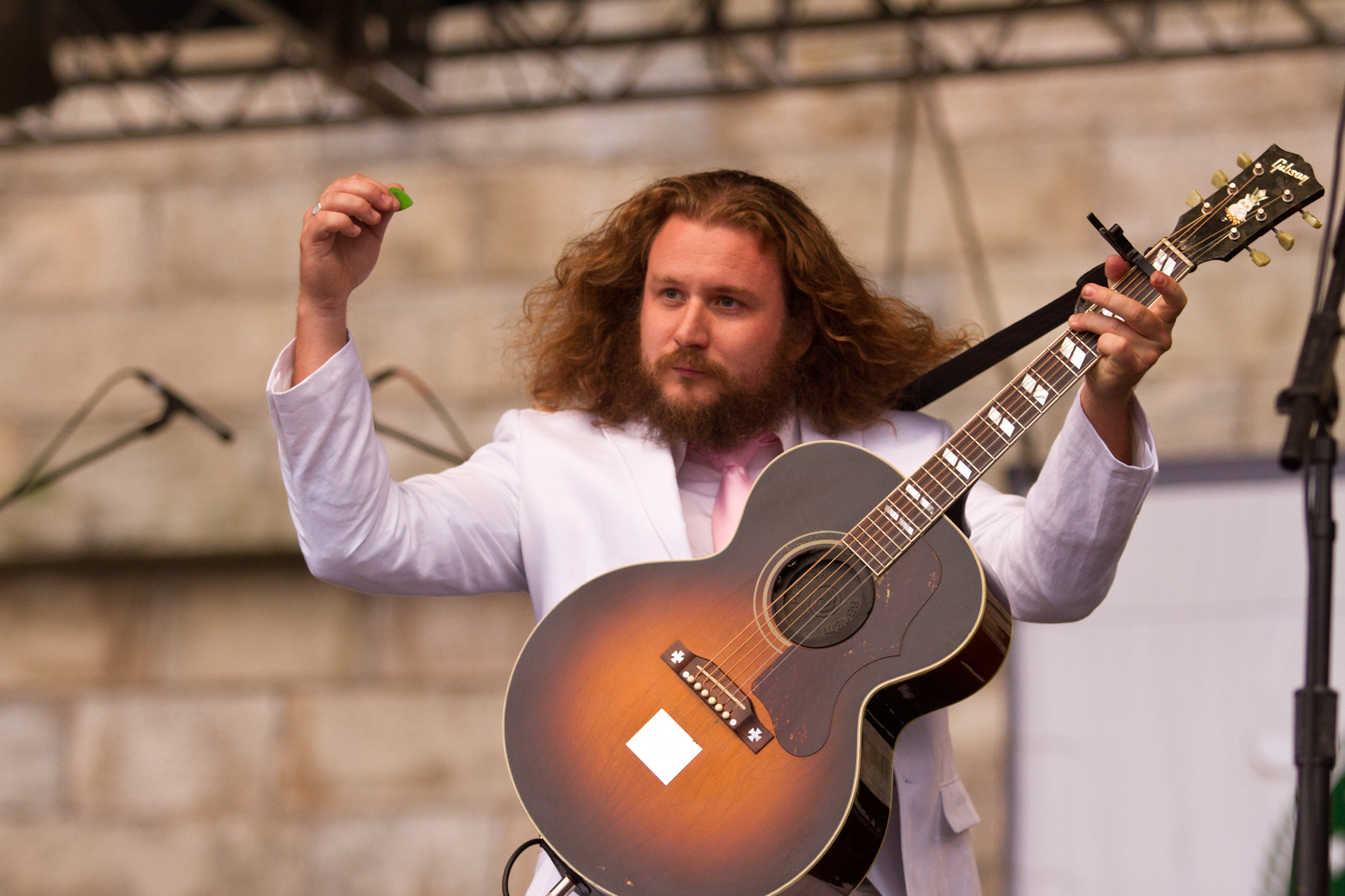 Jim James' hair and seersucker suit were in full force during My Morning Jacket's set at the Fort Stage.