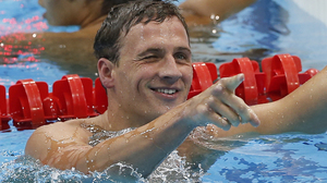 United States' Ryan Lochte reacts after finishing first in the men's 400-meter individual medley swimming final at the Aquatics Centre in the Olympic Park. Lochte won the first U.S. gold medal at the 2012 Summer Games.