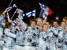Members of the Finnish delegation walk in the opening ceremony of the London Olympics.
