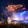 The Olympic rings are assembled above the stadium in a scene depicting the Industrial Revolution during the Opening Ceremony of the London 2012 Olympic Games at the Olympic Stadium on July 27.