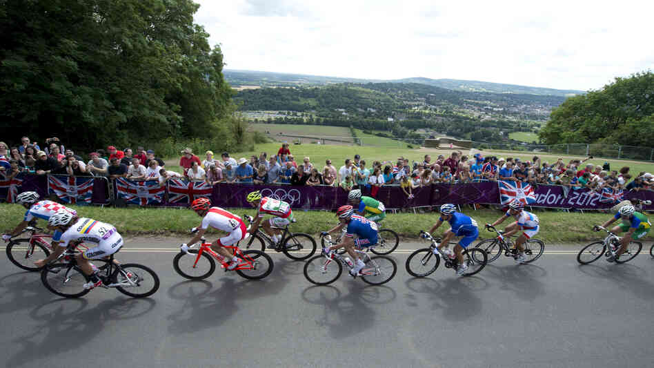 Rigoberto Uran of Colombia leads a group of riders as they ride up Boxhill on the outskirts of London, during the men's cycling road race for the 2012 London Olympic Games.