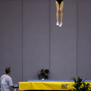 Shanelle Landry competes during the women's trampoline finals at the U.S. Olympic gymnastics trials in San Jose on June 27. Landry placed second.