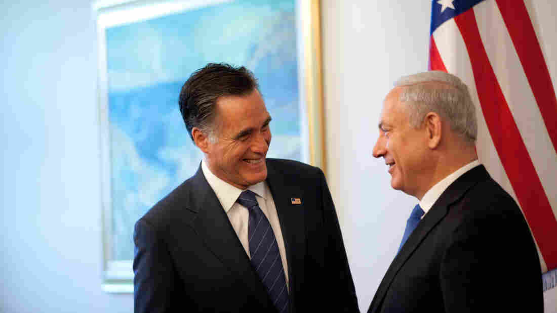 Republican presidential candidate Mitt Romney meets Israeli Prime Minister Benjamin Netanyahu before a meeting at the prime minister's office Sunday in Jerusalem, Israel.