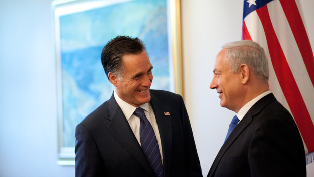 Republican presidential candidate Mitt Romney meets Israeli Prime Minister Benjamin Netanyahu before a meeting at the prime minister's office Sunday in Jerusalem, Israel. (Getty Images)