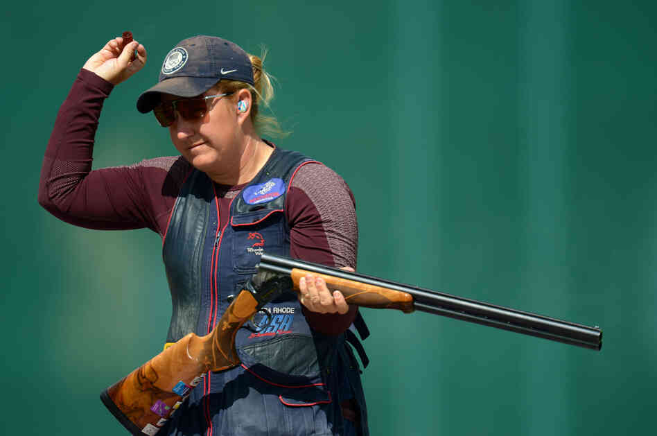Kimberly Rhode of the United States competes in the qualification round of the Women's Skeet Shooting on Day 2 of the London 2012 Olympic Games at The Royal Artillery Barracks on Sunday.