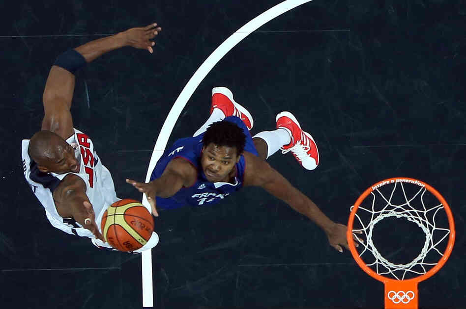 Kobe Bryant #10 of United States shoots the ball against Mickael Gelabale #15 of France during their Men's Basketball Game on Day 2 of the London 2012 Olympic Games at the Basketball Arena on Sunday.