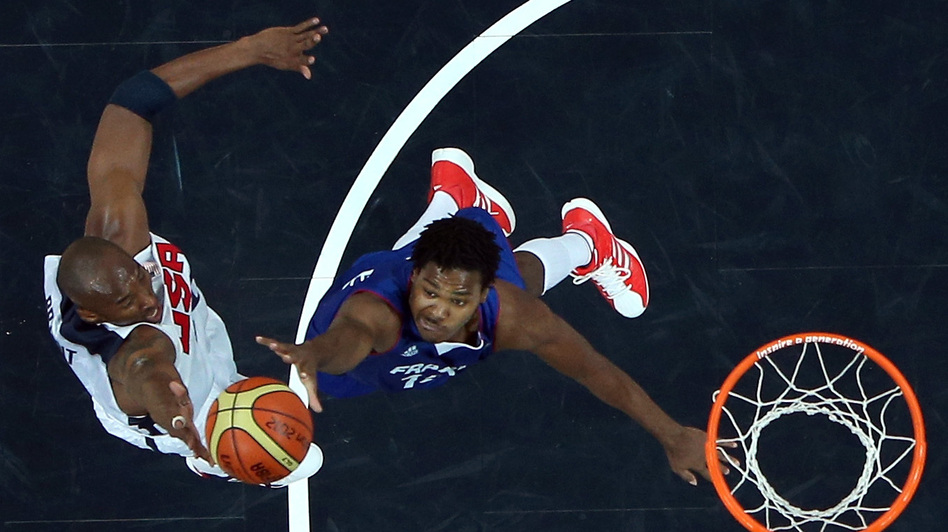 Kobe Bryant #10 of United States shoots the ball against Mickael Gelabale #15 of France during their Men's Basketball Game on Day 2 of the London 2012 Olympic Games at the Basketball Arena on Sunday. (Getty Images)