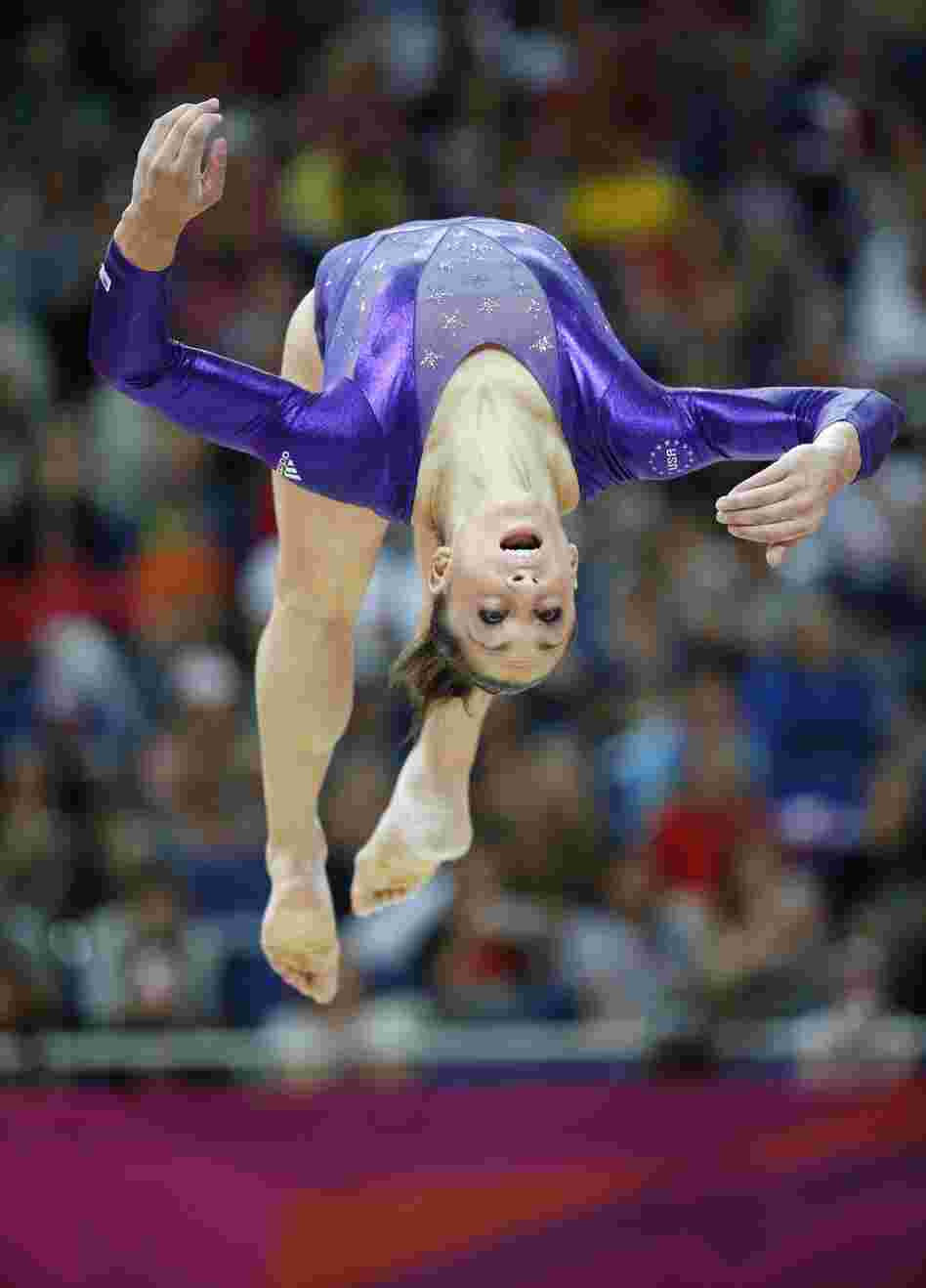 U.S. gymnast Jordyn Wieber performs on the beam during the women's qualification of the artistic gymnastics event of the London Olympic Games on Sunday.