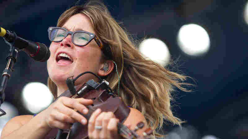 Sara Watkins plays the Fort Stage at the Newport Folk Festival.