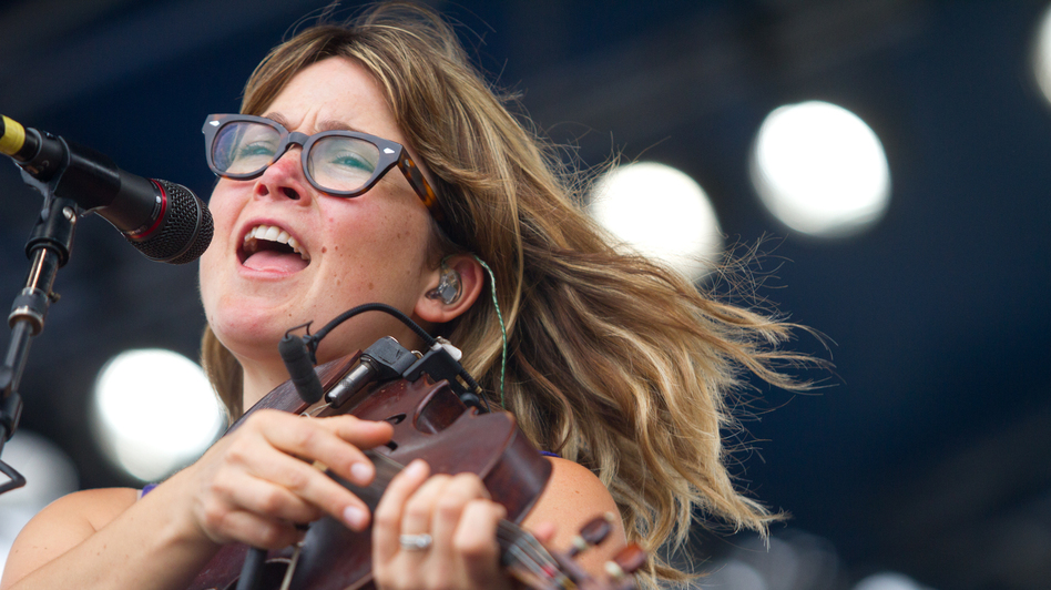 Sara Watkins plays the Fort Stage at the Newport Folk Festival. (Erik Jacobs for NPR)