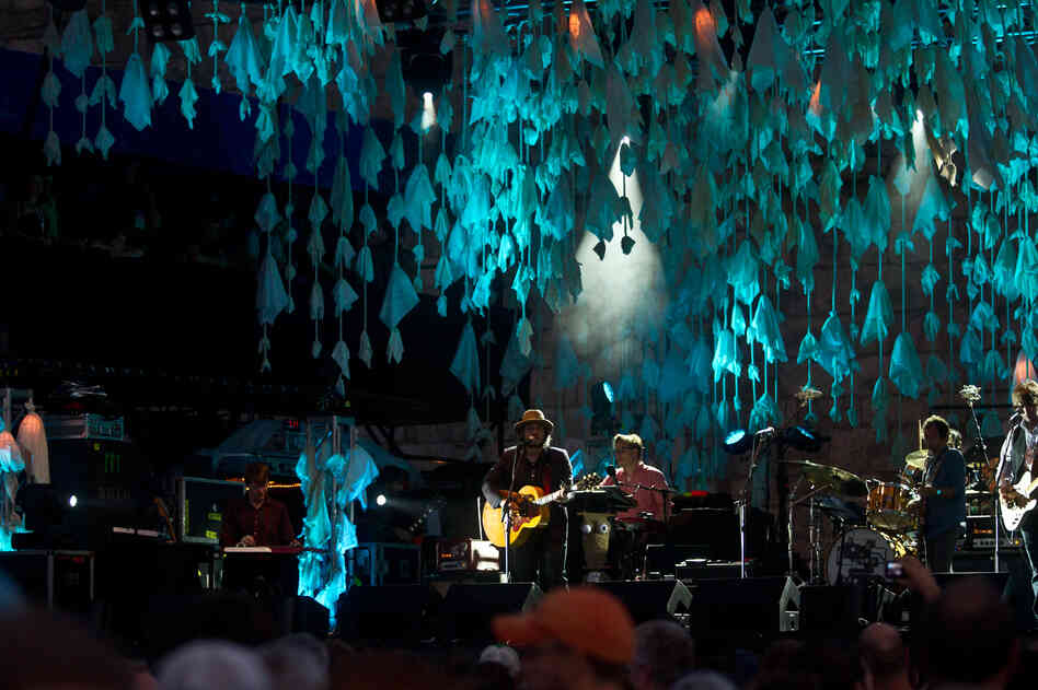 At the opening night of the 2012 Newport Folk Festival, Wilco plays the Fort Stage.
