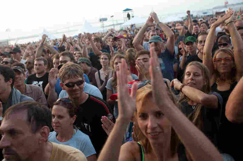 """We can't determine if this crowd is singing along to """"Heavy Metal Drummer,"""" but, come on, you know they are."""