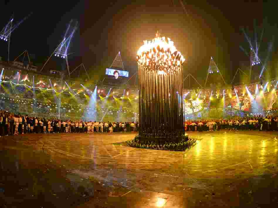 London's flame stands inside Olympic Stadium during the opening ceremony of the London 2012 Olympic Games on Friday.