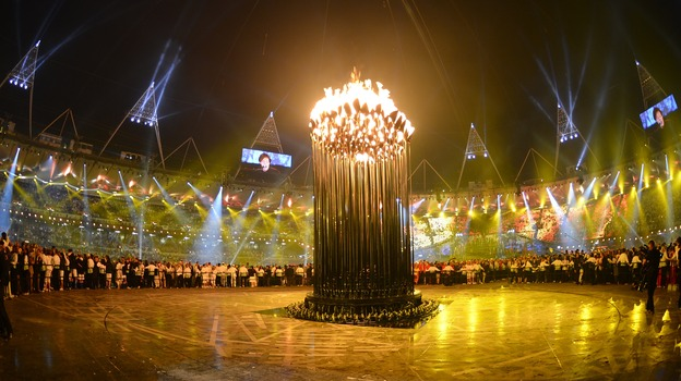 London's flame stands inside Olympic Stadium during the opening ceremony of the London 2012 Olympic Games on Friday. (AFP/Getty Images)