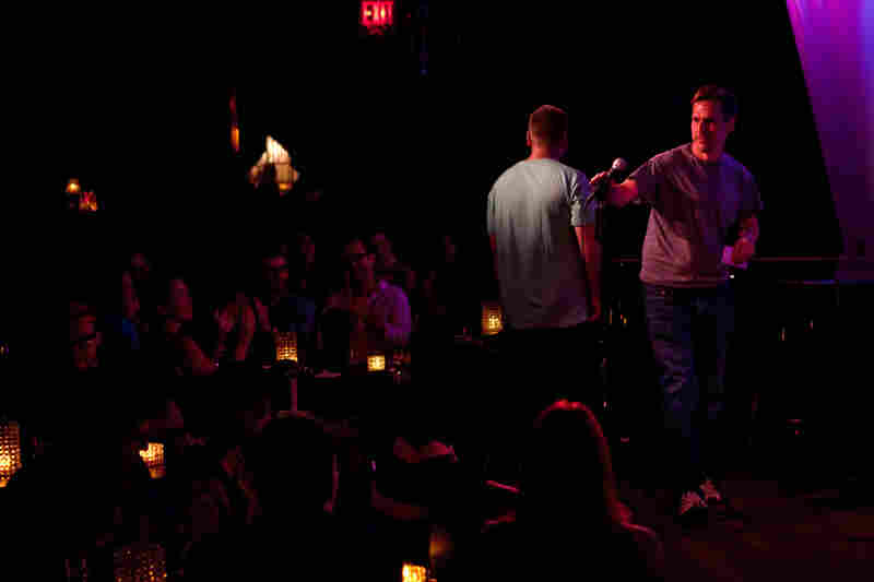 Amateur comedian Robert Lynch takes the mic at the Metropolitan Room in New York City on July 21. Lynch is also