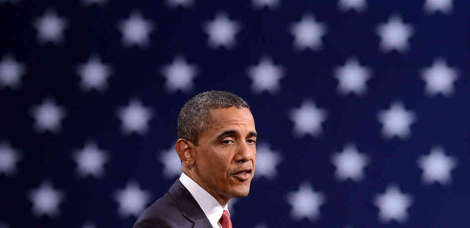 President Barack Obama speaks during a campaign event at the Washington Convention Center in April.