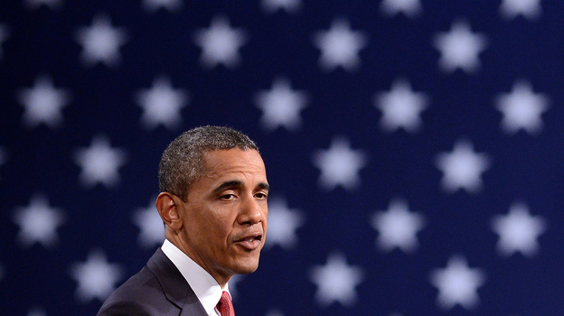 President Barack Obama speaks during a campaign event at the Washington Convention Center in April. (AFP/Getty Images)