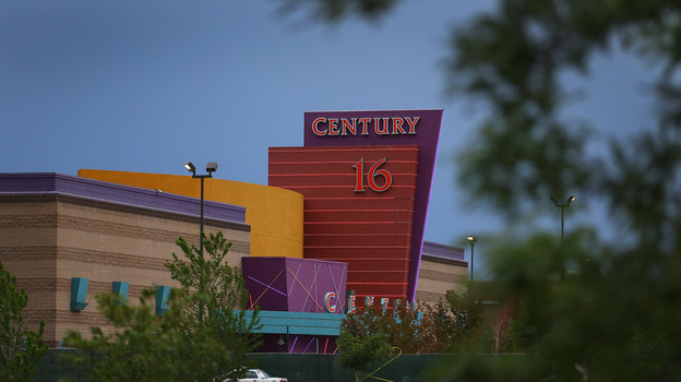 The Century 16 movie theatre is seen from a memorial setup across the street on July 28, in Aurora, Colorado. (Getty Images)