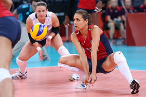 Logan Tom returns a serve in the women's volleyball preliminary match between the U.S. and Brazil. The U.S. won the match.