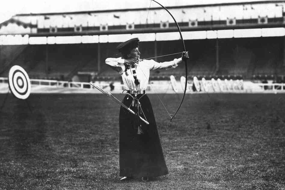 Queenie Newall of the United Kingdom, gold medalist in women's archery.