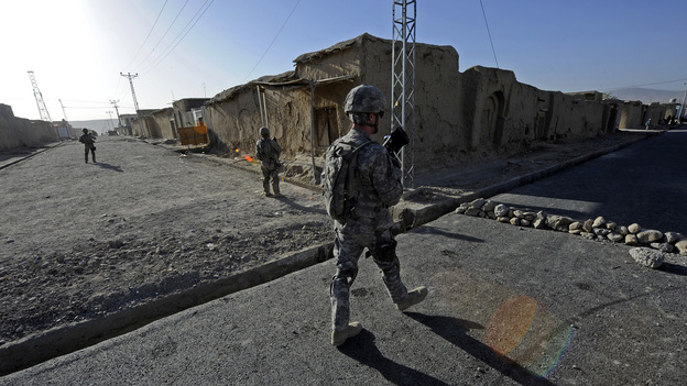 At a road project in Qalat, Afghanistan, last summer, U.S. forces were providing security. (Reuters /Landov)