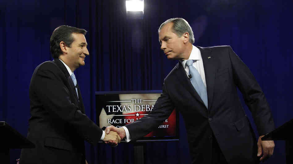 Ted Cruz, left, and David Dewhurst shake hands before their Republican Senate debate in D
