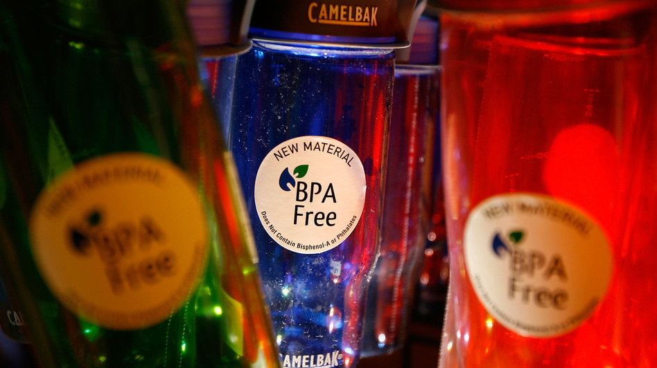 CamelBak-brand water bottles on display at an outdoor supply store in Arcadia, Calif., in 2008. The company removed BPA from the plastic in its bottles. (Getty Images)