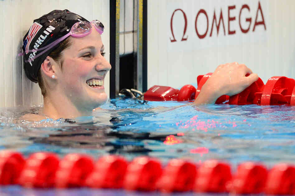 Record setter: U.S. swimmer Missy Franklin celebrates winning the women's 100m backstroke final at the London 2012 Olympic Games.