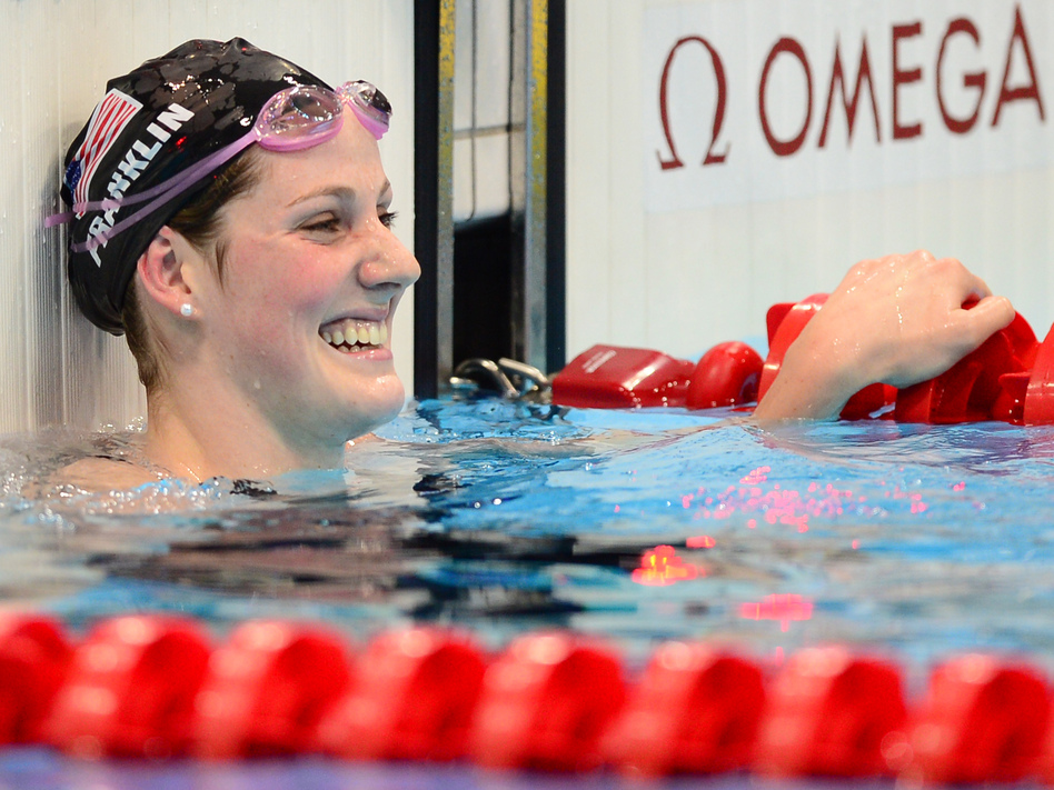 <strong>Record setter:</strong> U.S. swimmer Missy Franklin celebrates winning the women's 100m backstroke final at the London 2012 Olympic Games.