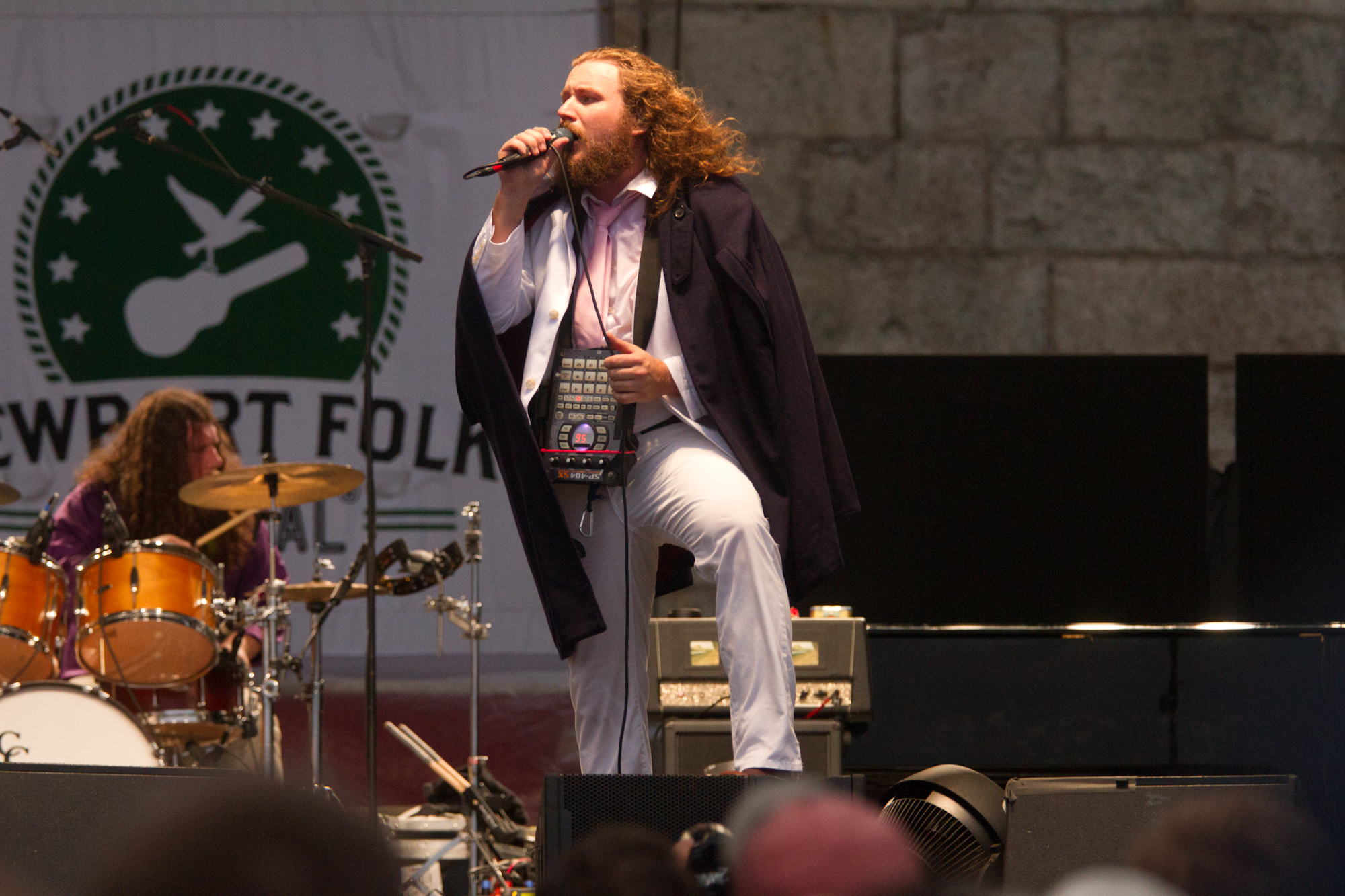 Jim James looked fabulous at Newport -- yes, that is both a cape and a Roland SP-404SX Portable sampler draped around his neck. The dude was everywhere, too, from an umbrella-toting guest spot with Conor Oberst to a concert with his New Multitudes project.