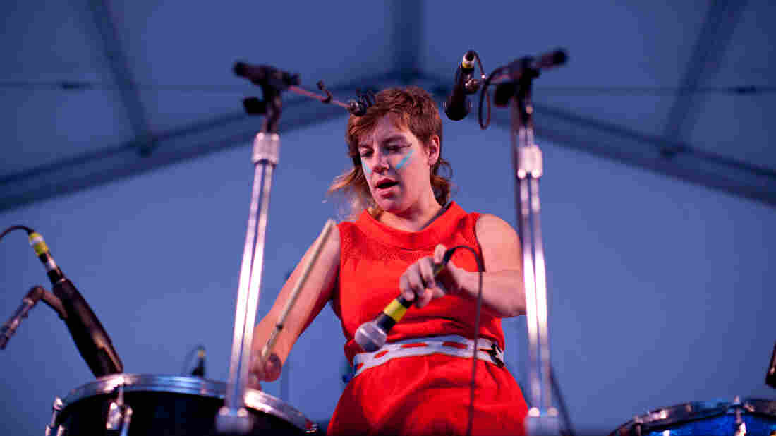 tUnE-yArDs performs on the Harbor Stage at the Newport Folk Festival.