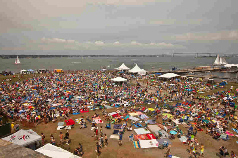 Despite thunder storms throughout the weekend, over 10,000 people gathered at the Newport Folk Festival.