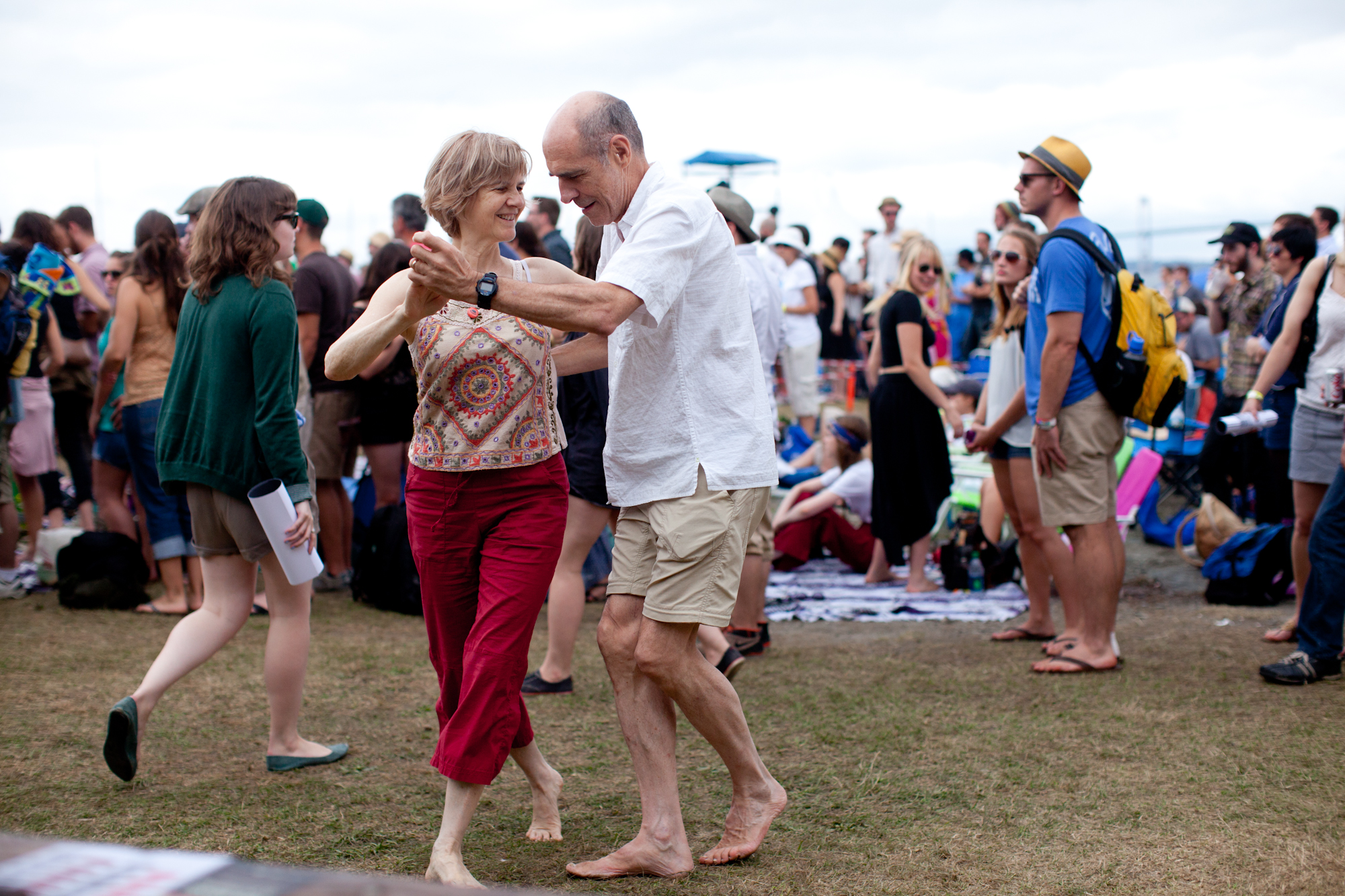 Bill Caldwell and Suzanne McQueen, both of Washington, D.C., danced to the funky soul of Charles Bradley outside the Fort Stage.