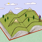 Illustration: A woman treks across a book landscape.