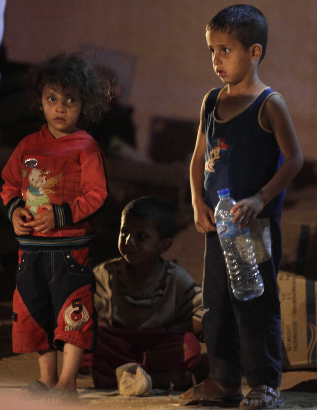 Syrian refugee children at the refugee camp in Jordan on Sunday.